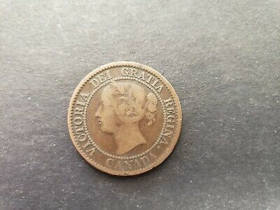 1859 Canada Canadian Large 1 Cent Victoria Coin - ERROR Cracked Planchet - Rare