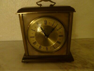 Vintage 1960s Metamec Mantle Clock Wood Brass - not working