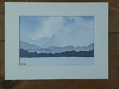 The Langdale Pikes From Windermere Lake District Original Watercolour Painting
