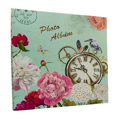 Large Self Adhesive Photo Album Hold Various Sized Picture Up to A4 Vintage Cloc