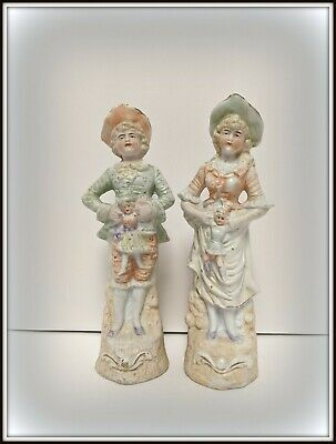 Antique French Victorian Boy & Girl Figurines, Hand Painted porcelain