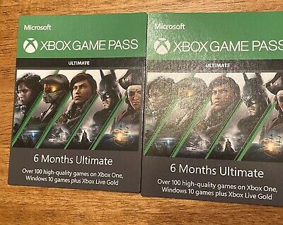 2 Xbox game pass 6 month Passes 1 Year Microsoft Xbox Live
