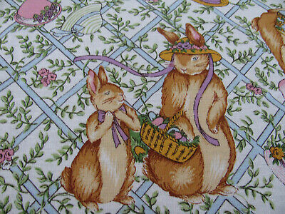 """100% Cotton Easter Tablecloth *Bunnies In Easter Bonnets*  62"""" X 100"""" Vgc"""