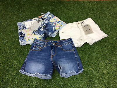 Girls Zara Age 5-6 Years Denim Style Shorts 3 Pairs 2 New Multi Colour