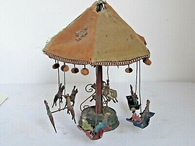 Antique Hand Painted Tin German Carousel Windup Toy
