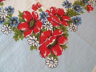 Vintage Red Flowers on White Blue Tablecloth