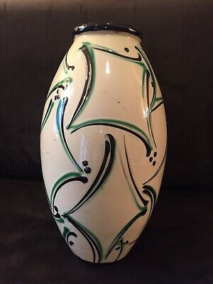Beautiful Large Herman Kahler HAK Signed Danish Pottery Vase Art Deco Design