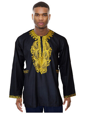 Black Cotton Long Sleeve Dashiki Shirt with Gold Embroidery
