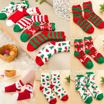 3 Pairs Lounge Casual Ladies Elastic Soft Room Coral Fleece Cosy Christmas Socks