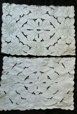 2 Vintage White Madeira Linen Style Embroidered Cut Work Doily Table Topper