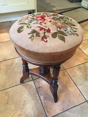Stunning rise and fall Tripod piano stool  in excellent condition with Tapestry