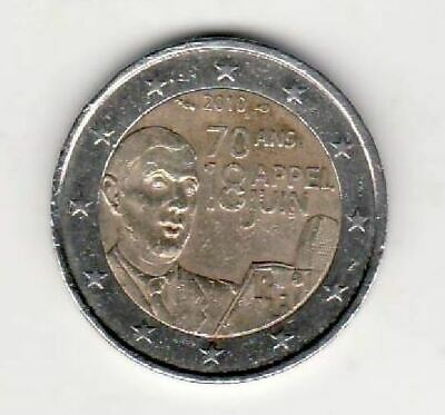 2010 France 2 Euro Commemorative Coin  70th Anniversary Appeal General de Gaulle