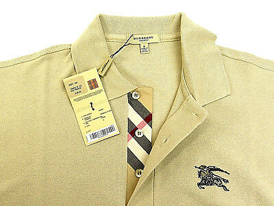 """BURBERRY Brit Men Casual Polo Size Small Beige With 2"""" Black Monogram RARE NWT"""