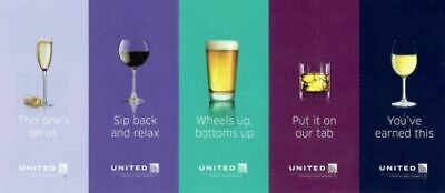 Five (5) United Airlines Drink Coupons / Vouchers (expiration 1/31/2022)