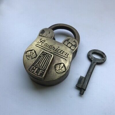 Old or antique solid brass small or miniature padlock lock key trick or puzzle