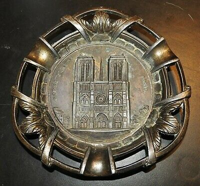 Vintage Brass Polyor Ashtray Notre Dame Cathedral Paris Trinket Dish Souvenir