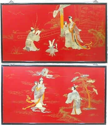 2 Large Antique Chinese Red Lacquer Wall Art Panels w/ Semi Precious Stone Inlay