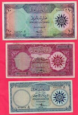 1959 IRAQ Central Bank of Iraq 1 , 5 , 10 Dinars Very Good Condition Banknotes