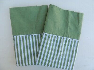 Vintage Fashion Manor Standard Pillowcases Green Striped Percale JC Penney