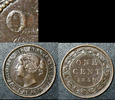 FEBRUARY SALE: Large Cent - 1859 Wide 9/8 Repunched O/O EF (bg022)