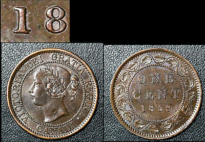 FEBRUARY SALE: Large Cent - 1859 Repunched 1 in 1859 - AU58 (bg026)