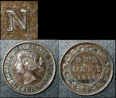 FEBRUARY SALE: Large Cent - 1859 Repunched N CENT - AU (bg031)