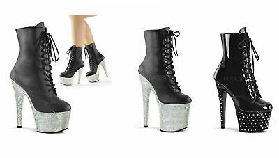 Pleaser BEJEWELED-3019DM-7 Womens Black Faux Leather Silver Heel Stone Knee Boot