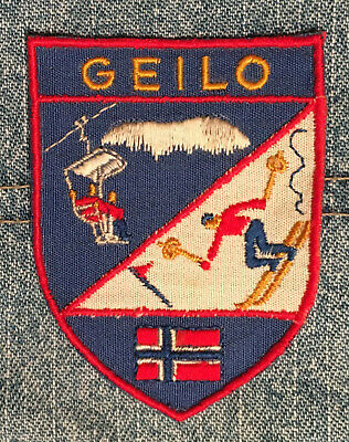 "Geilo Norway vintage appliqued ski patch 2 5/8""T"