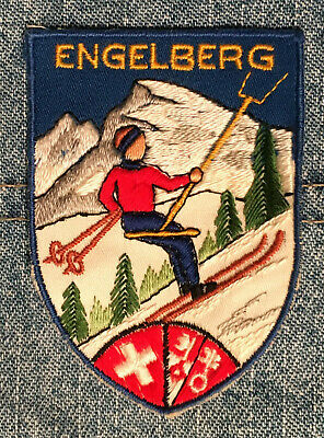 "Engelberg Switzerland vintage appliqued ski patch 2 3/4""T"
