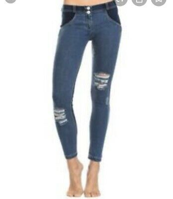 Freddy WR.UP Denim Blue Distressed Skinny Jeans Jeggings Size S. US 4 Ripped
