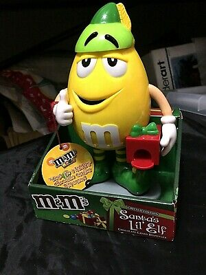2013 M & M's Limited Edition Santa's Lil' Elf candy dispenser ~ Yellow M&M