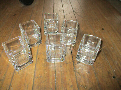 Set of 6 1800 Tequila Etched Logo Cube Square Shot Drink Glasses Shooters NEW