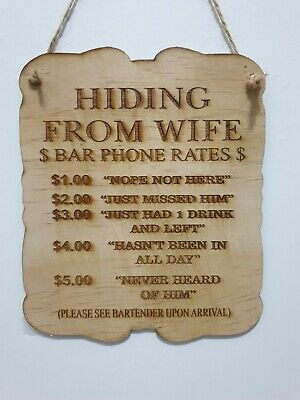 Bar Beer Sign Man Cave Wife Hiding Wood Laser Engraved Wall Decor