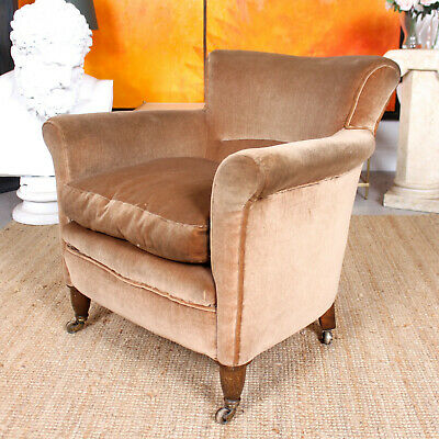 Antique Victorian Armchair Upholstered Tub Chair Salon Chair Cappuccino