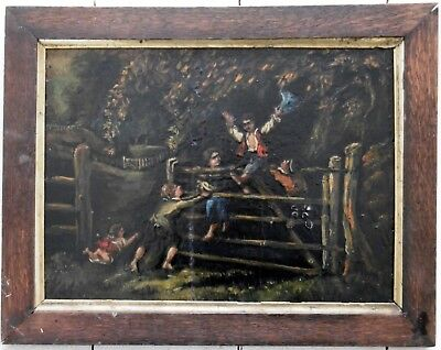 Victorian Oil on Mahogany Panel, English circa 1870.