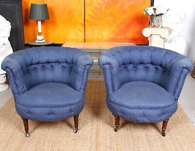 1 of 2 Antique Victorian Armchair Upholstered Tub Chair Salon Chair Blue