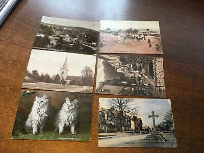 6 x Early 1900s Postcards All With Railway Sub Offices Post Stamps. Look!