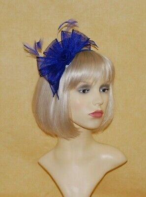 Elegant Royal Blue Sinamay Loops & Feather Fascinator on Head Band. BNWT.