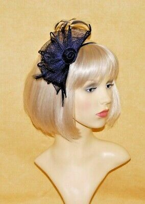 Elegant Navy Blue Sinamay Loops & Feather Fascinator on Head Band. BNWT.