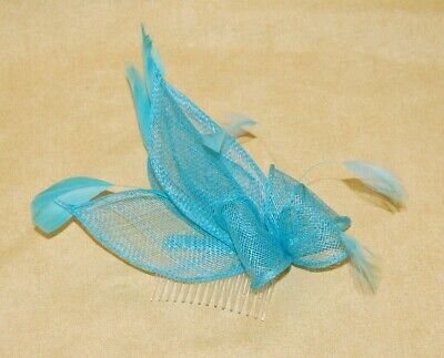 Elegant Turquoise Sinamay Petal Shapes & Feather Fascinator on Comb. BNWT.