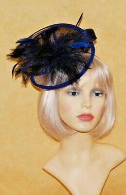 Elegant Navy Blue Sinamay Double Disc & Feathers  Fascinator on Head band.