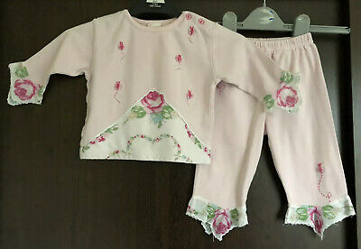 Monsoon Pink 2 Piece Outfit With Flower Detail Hem Age 6-12 Months