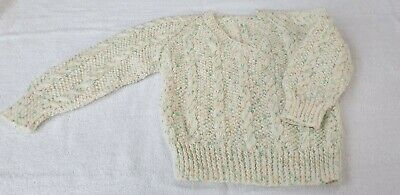 Boys Cream + green/orange Fleck, V Neck Jumper - Age 2 Yrs - hand knitted