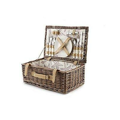 2 Person Wicker Willow Fitted Picnic Hamper with Pattern Beach Starfish Lining