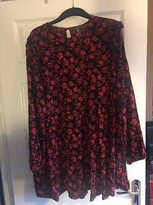 Primark Plus Size Smock Dress Red And Black Floral Frilly Long Sleeve Size 20