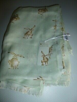 Wrendale Designs Scarf BNWT new tags Leaping Hare Green SCF001