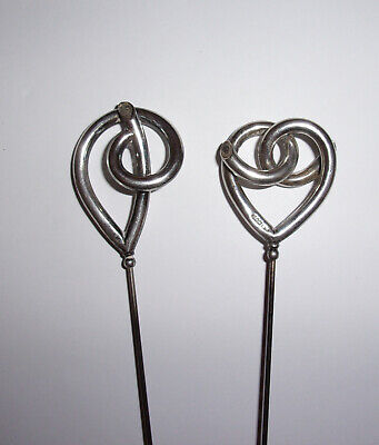 Two Antique Silver 'Charles Horner' Arts & Crafts/Art Nouveau style Hatpins
