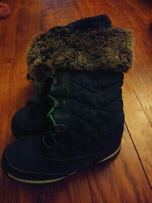 Girls Winter Fleece Lined Snowflake Pom Pom Snow Boots Shoe Sizes 3 to 10