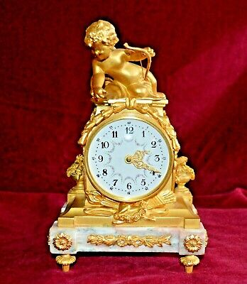 Antique Marble Gilt French Cherub Small Boudoir Mantle Clock Working