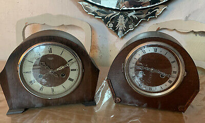 Pair  Of Vintage (1930's Or 1940s) Smiths Striking Mantel Clocks Art Deco